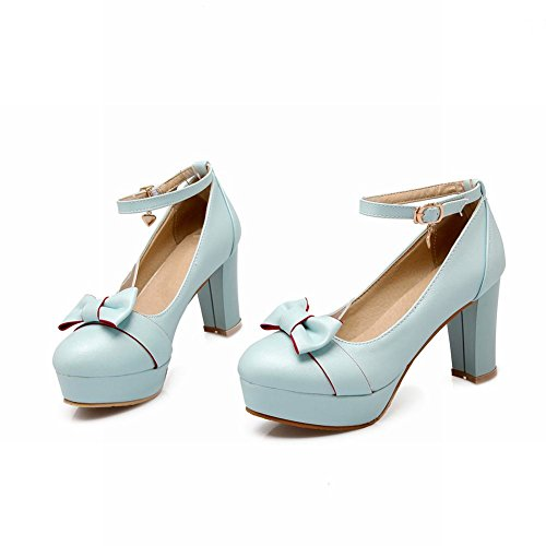 Mee Shoes Damen süß Schleife Ankle strap Plateau Pumps Blau
