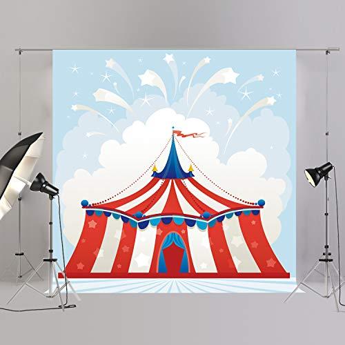 joypark Circus Zelt Foto Booth Hintergrund für Party Dekorationen Supplies Fotografie Rückseite Drop für Baby-Dusche Oder Geburtstag Bilder Vinyl Requisiten, D9272-1, 8x8ft(250x250cm) (Circus Geburtstag Party 1.)