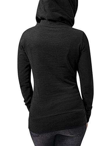 Urban Classics Damen Kapuzenpullover Ladies Long Logopatch Hoody Schwarz (Black 7)