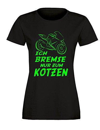 Ich Bremse nur zum Kotzen - Damen Rundhals T-Shirt Schwarz/Neongruen