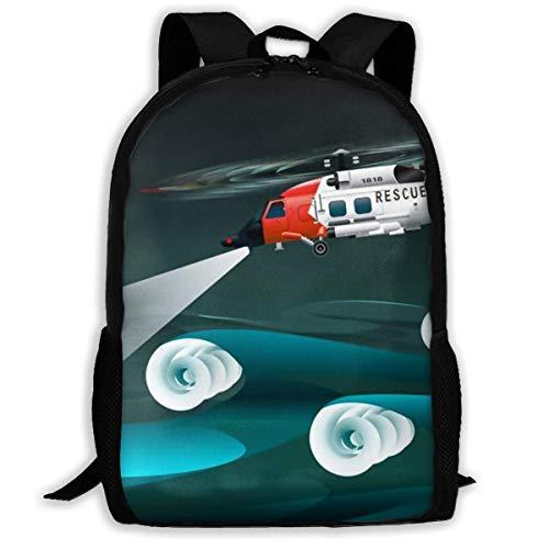 Schulrucksack, Hubschrauber der Retter Linke Ansicht Rettungsfloß Palne Schultasche Student Stilvolle Unisex Canvas Rucksack Schultasche Rucksack Daypack Für Teen Kids