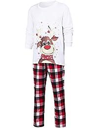 89716e4c96e Pyjama Noël Famille LHWY Custome Vêtements Hommes Famille Papa Chapeau De  Noël Plaid Blouse Pants Pyjamas de Famille Ensemble de Noël…
