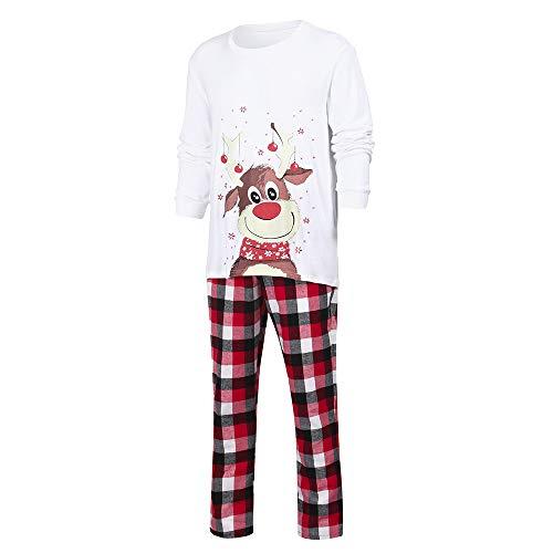 73bd424de659f Pyjama Noël Famille LHWY Custome Vêtements Hommes Famille Papa Chapeau De  Noël Plaid Blouse Pants Pyjamas