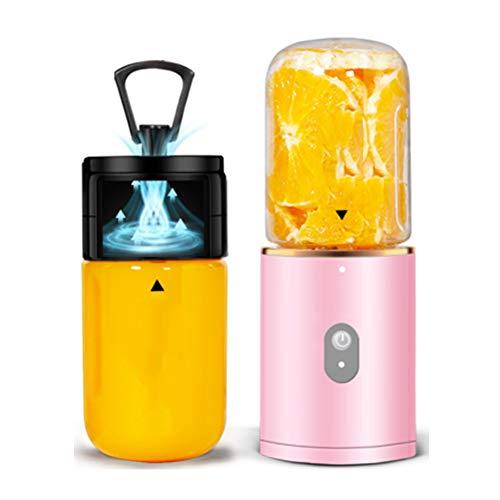 KOKO Entsafter Haushaltsobst Kleine tragbare Saftschale Multifunktions-Mini-Lebensmittelmaschine Vakuum tragbare Ladesaftpresse, die Oxidation und Verfärbung abwehrt-Pink