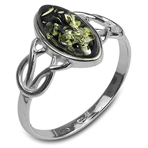Noda bague en ambre verte et argent celtique taille
