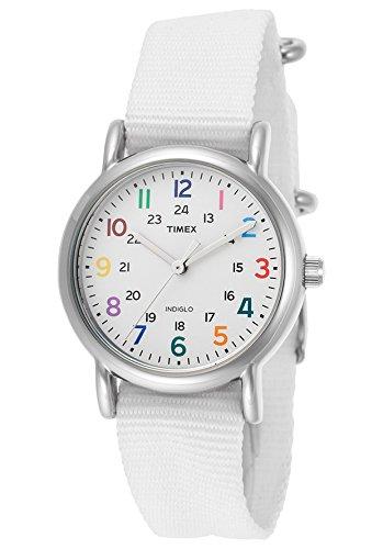 25e8ba43d900 Timex Weekender 31 mm de la mujer blanco piel carcasa banda de acero reloj  analógico de