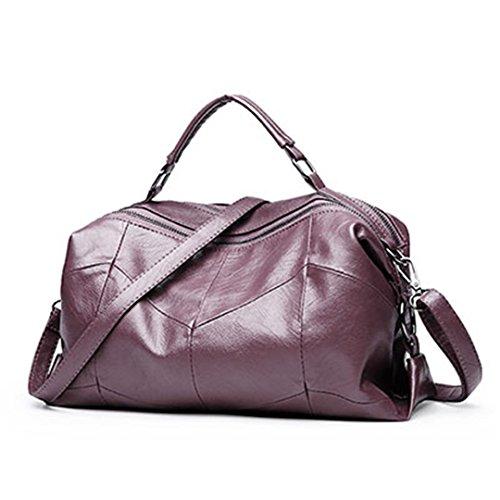 Leder Frauen Taschen Designer Handtaschen Schultertasche Weiblich Groß Casual Tote Spanisch Umhängetasche Damen Geometrische pink ()