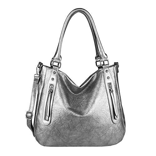 OBC XXL Damen METALLIC Hand-Tasche Shopper Hobo Bag Schultertasche Umhängetasche Henkeltasche Beuteltasche Bowling (Antik Silber 49x34x12 cm)