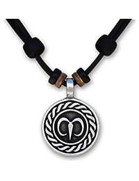 HANA LIMA 1 von 12 verschiedenen Sternzeichen Tierkreiszeichen an verstellbarer Lederkette Horoskop Horoscope Halskette Surferkette