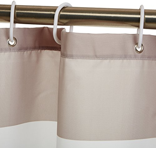 AmazonBasics Water Repellant Shower Curtain with Hooks - 72