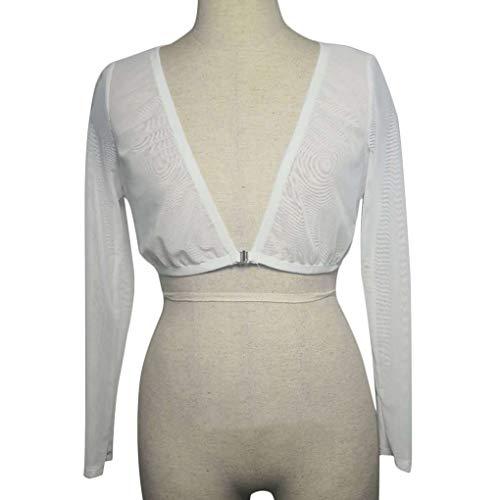 Babysbreath17 Frauen Mesh-See-Through Crop Tops Mädchen vorne offen Langarm-Thin-T-Shirt Weiß L -