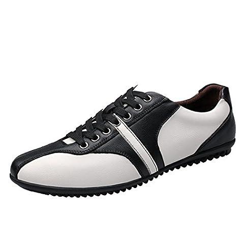 Spades et clubs de quatre saisons en cuir Casual et fashion à lacets Sneakers plat souple chaussures - Blanc - blanc, 44