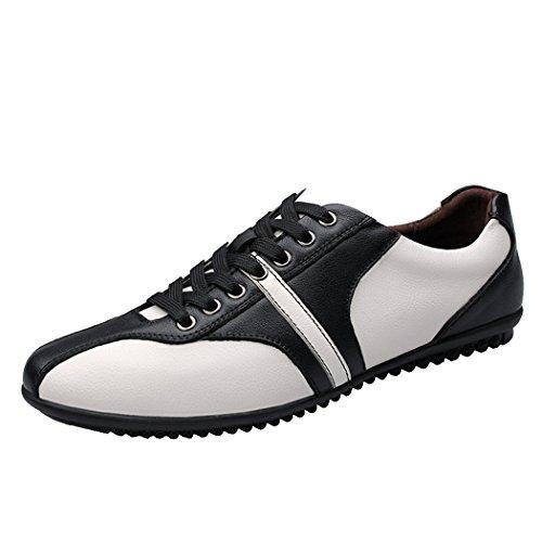 Pik & Clubs Herren Vier Jahreszeiten Leder Casual Fashion Spitze bis Kragenhalskette Soft Flat Sneakers Schuhe, Weiß - weiß - Größe: 44
