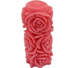 Allforhome Moule cylindrique en silicone pour savons/bougies Motif roses;Fini Taille de bougie: 5,8 * 2,5* 2,5 cm (2,28 * 0,98* 0,98 pouces)