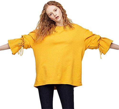 Drawstring Weiten Glockenärmel Trompete Ballon Ärmeln Ärmel Langarm Sweatshirt T-Shirt Oberteil Top Gelb M -