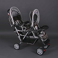Tandem - Cochecito gemelos Cochecito doble Cochecito sillas de paseo para 2 niños, marrón - Bambino World