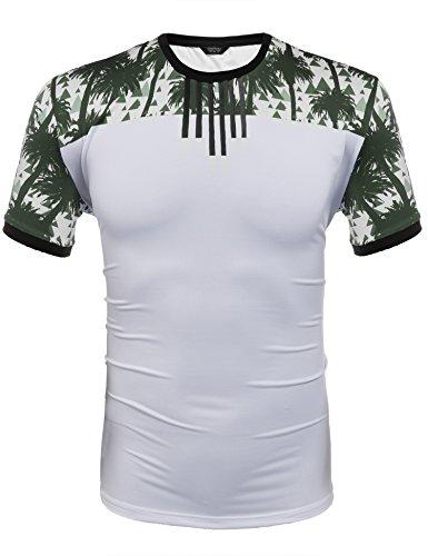 Wixens Herren T-Shirt Aus Baumwolle Sommer Sweatshirt mit Aufdruck Hawaii Oberteile