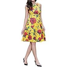 Honghu Verano Elegante Vintage Vestido Sin Mangas de la Vendimia para Mujer De Impresión por la rodilla Vestido de Casual