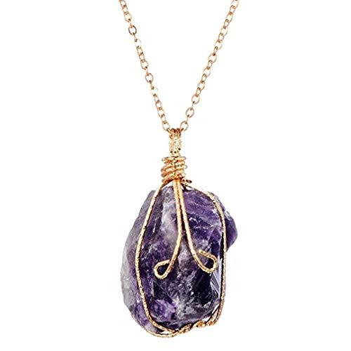 Scpink vendita liquidazione, liquidazione offerte arcobaleno pietra naturale cristallo chakra rock collana gioielli regalo pendente al quarzo (viola)