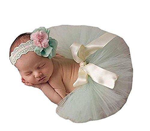 Neugeborene junge mädchen Handarbeit gehäkelte Baby kostüm fotoshooting Tutu Kleid Kopfschmuck (Kleid Gehäkelte Grüne)