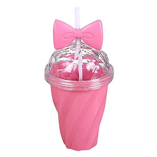 Stroh Pillendose (WJVCZ 400 ml Lemon saft Tasse Baby mädchen tassen mit Deckel Stroh wasserflasche Tasse Kinder Trinken Werkzeug zubehör Tasse, pink)