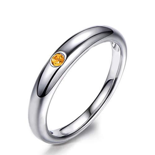 KnSam-Anillo Oro Blanco Mujer Diamante Compromiso