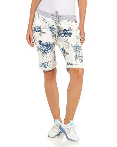 ZARMEXX Damen Shorts Capri Bermuda Boyfriend Sommerhose Sport All-Over Print One Size Muster 8 One Size (40-44)