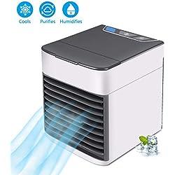 Climatiseur Portable Refroidisseur d'air Portable 4 en 1 Mini Ventilateur Climatiseur Mobile Humidificateur USB d'air Froid Silencieux avec 2 Couleurs pour Maison/Bureau