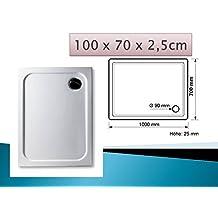 Plato de ducha acrílico 100 x 70 cm superflach rectangular de colour blanco y ducha/plato de ducha
