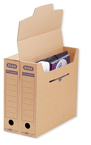 ELBA 100421087 Archiv-Box tric system 12er Pack mit Verschlusslasche, Archivaufdruck und Griffloch naturbraun Archivschachtel Archivbox