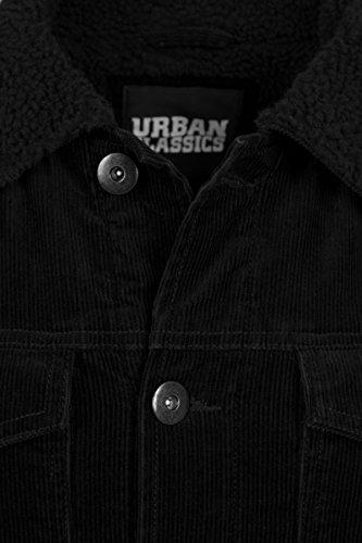Urban Classics Herren Jeansjacke Sherpa Corduroy Jacket Schwarz (Black 825)