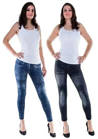Winter Leggings Jeggings Denim Look 480 DEN Blue or Black S/M L/XL (L/XL, Blue)