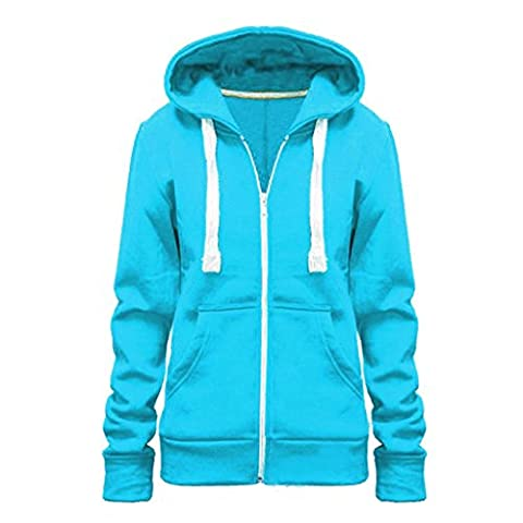 Womens Ladies New Plus Size All Colors Plain Zip Hoodie TURQUOISE 6XL/24