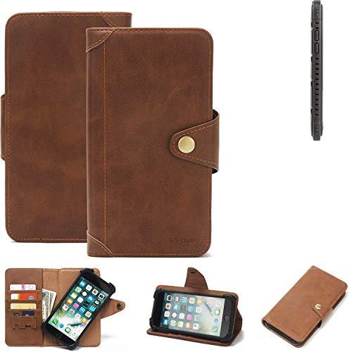 K-S-Trade Handy Hülle für Cyrus CS 35 Schutzhülle Walletcase Bookstyle Tasche Handyhülle Schutz Case Handytasche Wallet Flipcase Cover PU Braun (1x)