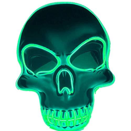 Led Minnie Kostüm Maus - Calvinbi Halloween Maske LED Light EL Wire Schädel Maske Skelett Maske Cosplay Maske Purge Mask für Festival Fasching Cosplay Halloween Karneval Kostüm Dekoration Leuchtend