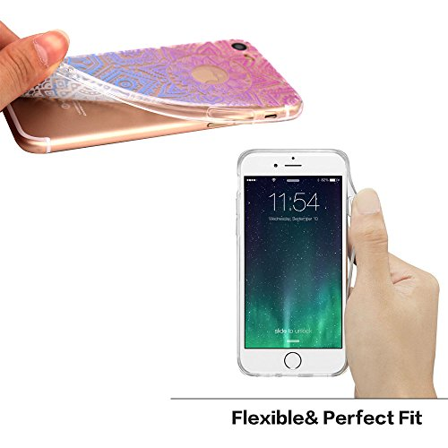 iPhone 7 Hülle, JIAXIUFEN TPU Silikon Schutz Handy Hülle Handytasche HandyHülle Etui Schale Schutzhülle Case Cover Tasche Etui für Apple iPhone 7 - White Tribal Mandala Color10
