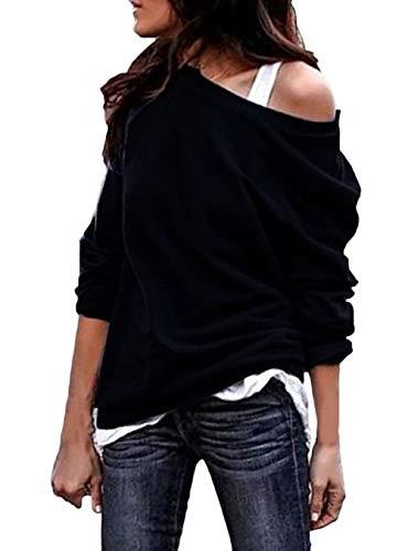 Sweatshirt Damen Frühling Herbst Langarm One Shoulder Tops Mode Marken Casual Mode Elegante Locker Unifarben Shirt T-Shirt Oberteile Frauen (Color : Schwarz, Size : M)