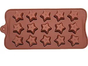 Allforhome 15 Cavities Little Star Silicone Oven Ice Cream Lattice Cake Baking Candy Making Moulds Cake Pans Handmade Soap DIY Chocolate Mold