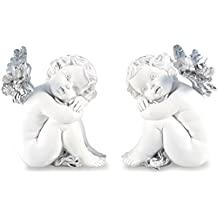 Pajoma 10553, Figuras con Forma de ala de Ángel Silver Conjunto de 2, Resina