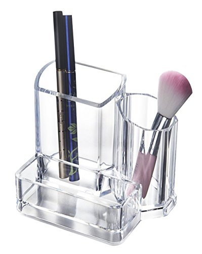 BlushBees 3-Compartment Acrylic Cosmetics Makeup Storage Organizer, 1 Piece, Transparent