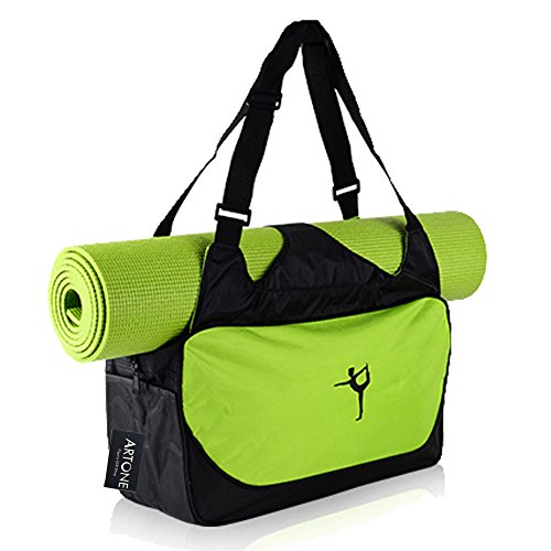 Artone Wasserabweisend Oxford Sporttaschen Trainieren Yogatasche Große Yoga Tasche für Matte und Zubehör Grün