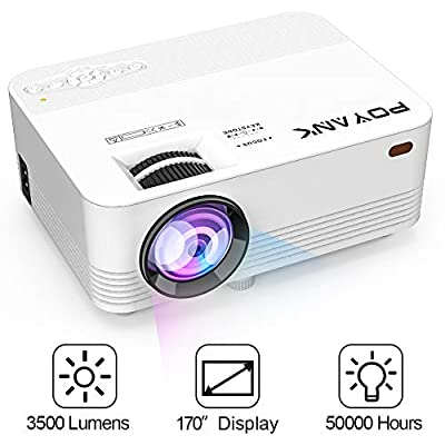 POYANK Projector, 2500 Lumens Mini Projector, Video Projector supports 1080P, Compatible with TV Stick Smartphone Tablet Game Console PC HDMI VGA TF USB, Home Theater Projector, White.