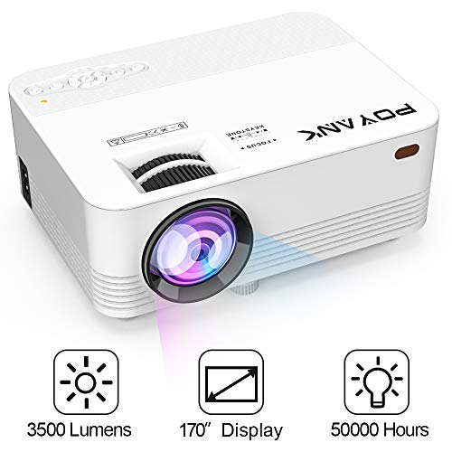 POYANK Projektor, 3500 Lumens Mini LCD Beamer, Videobeamer unterstützt 1080P, Verbindung mit TV Stick Spielkonsole PC Smartphone Tablet HDMI VGA TF USB , Heimkino Beamer, Weiß. (P18)