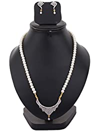 Bling N Beads Classic Pearl Necklace With Pendant And Earrings Perfect Gift For Her