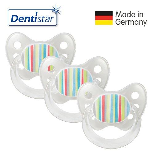 Dentistar® Latex Schnuller 3er Set - Nuckel Größe 2, 6-14 Monate - Naturkautschuk Beruhigungssauger für Babys - Streifen, perle