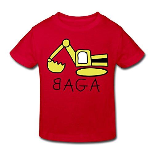 Continental Mädchen T-shirt (Spreadshirt Bagger BAGA Kinder Bio-T-Shirt, 98/104 (3-4 Jahre), Rot)