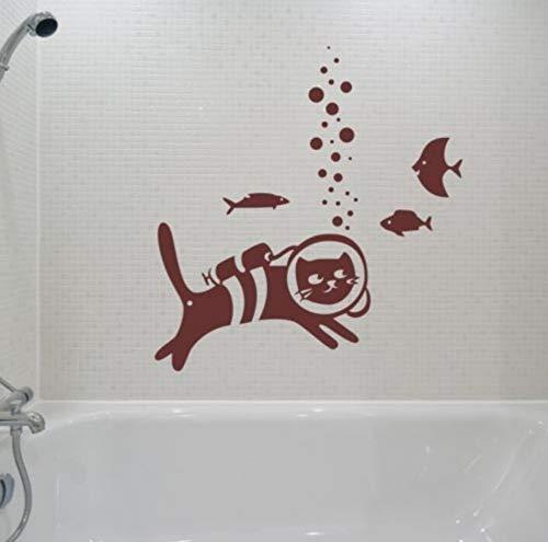 Ein Tauchen Katze Fisch Wandaufkleber Steuern Dekor Wohnzimmer Abnehmbare Vinyl Wandaufkleber Kinderzimmer Kunst Wandtattoo 56x60 cm -