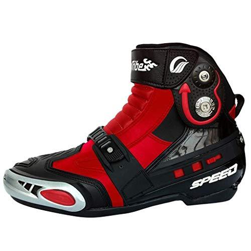 AEMUT Stivali da Moto Impermeabili da Uomo Stivali da Moto in Pelle corazzati da Turismo Scarpe da Corsa Sportive Anti Scivolo,Red-43