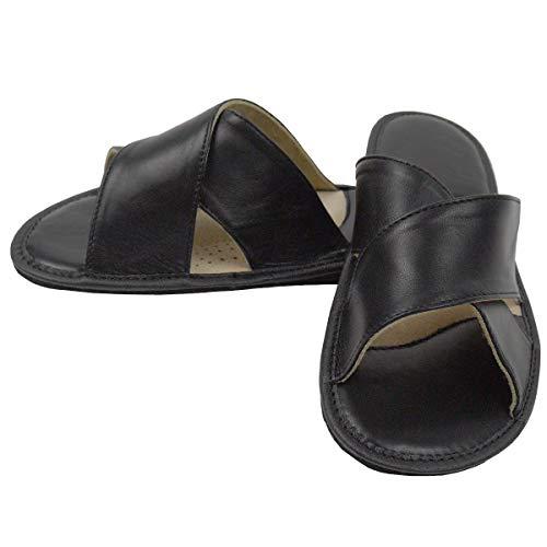 DF-SOFT Herren Herrenpantoffel Pantoffel Hausschuhe Haus Schuhe Leder Pantoffel Lederpantoffel Pantoletten Herren Schlappen Herren Modell 209 (45 EU)