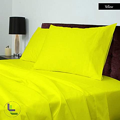 Scala 4PCs Juego de sábanas(Amarillo Sólido , Reino Unido King Size 150 x 200 cm (5ft x 6ft 6in) , Pocket Size 19cm) 100% de algodón egipcio Alta Calidad 300 Thread